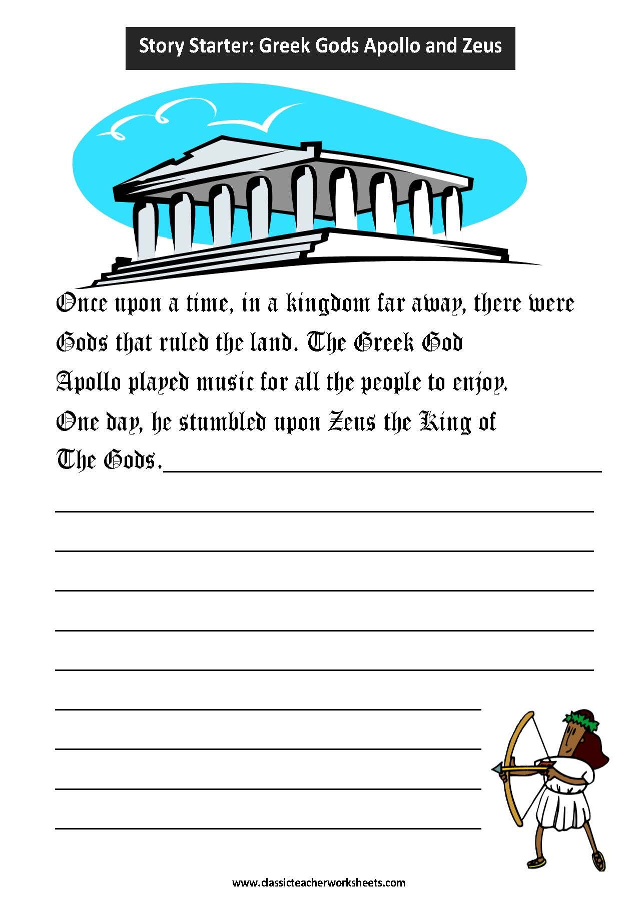 worksheet Greek Mythology Worksheets check out our collection of writing worksheets at classicteacherworksheets com worksheet story starter