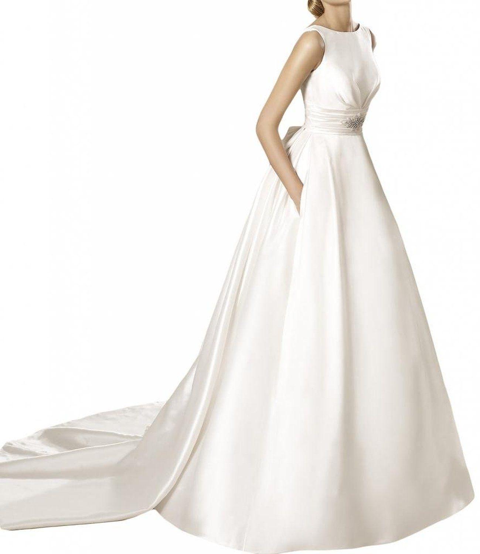 Gorgeous Bride Modern Lang Rundkragen A-Linie Satin Hof-Schleppe ...