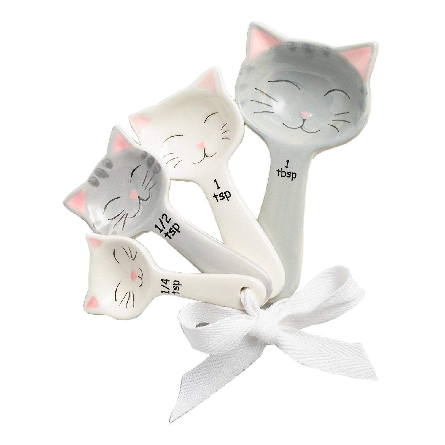 91fa25e21 Purrfect Gift for the Cat Lover! Cat Shaped Ceramic Measuring Spoons -  White and Gray