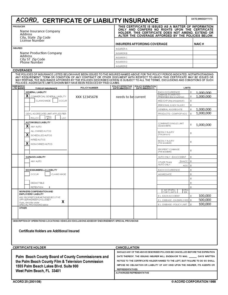 Free Certificate Of Insurance Template In 2021 Insurance Template Liability Insurance Insurance Printable
