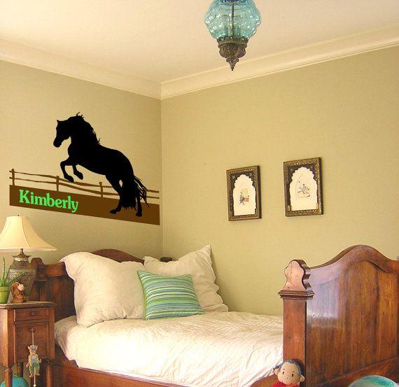 Horse wall decal, girls bedroom wall name sticker, teen girls room ...