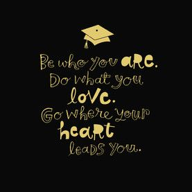 Grad Gold Lettering on Black Inspirational graduation