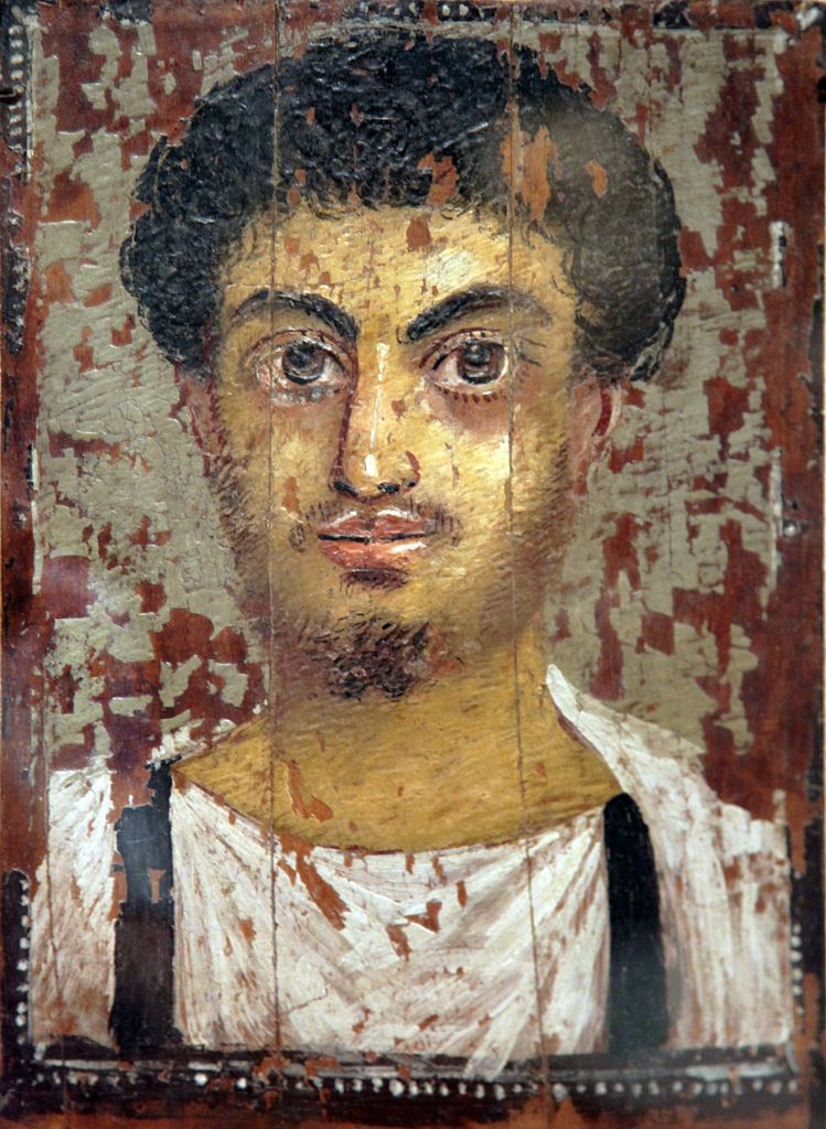 Mummy portrait. Panel painting. Young man. 3rd century AD