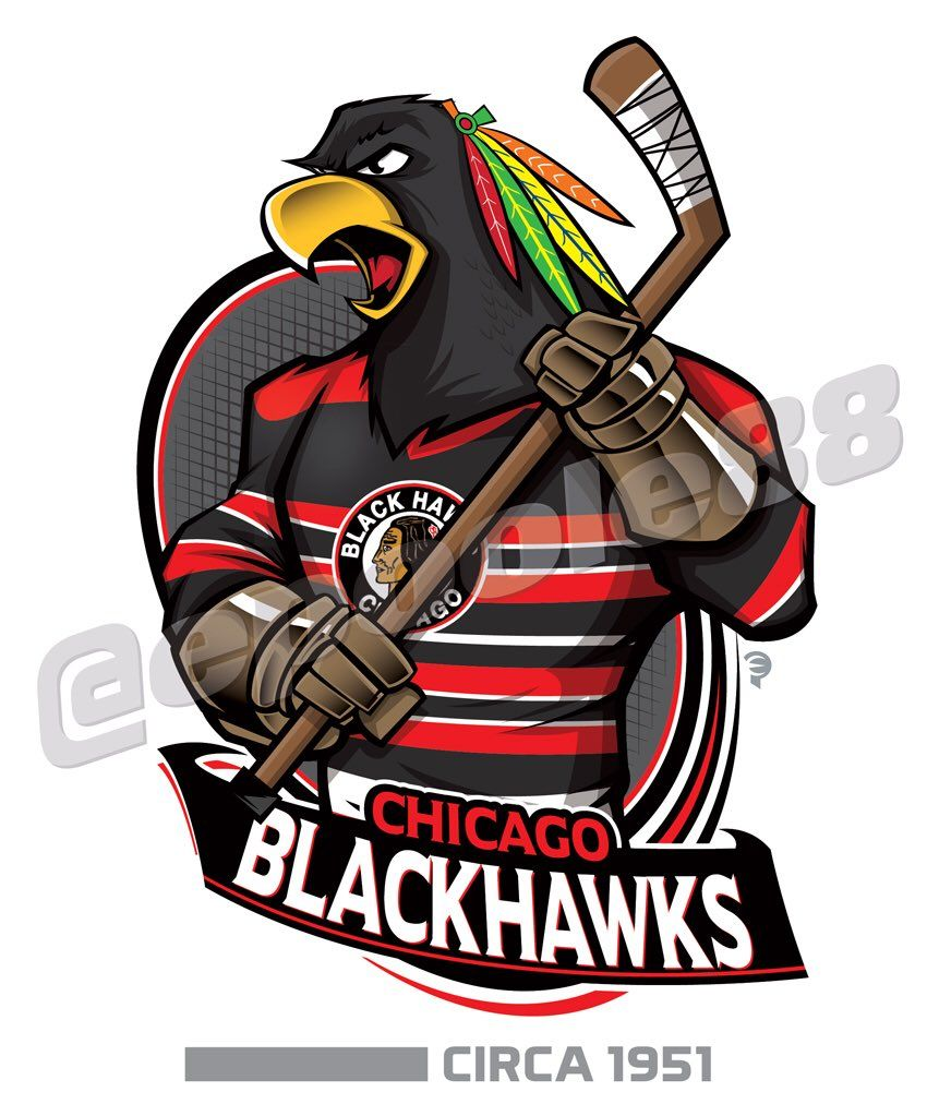 Retro early-1950s Chicago Blackhawks, courtesy of that great cartoonist #EPoole88.