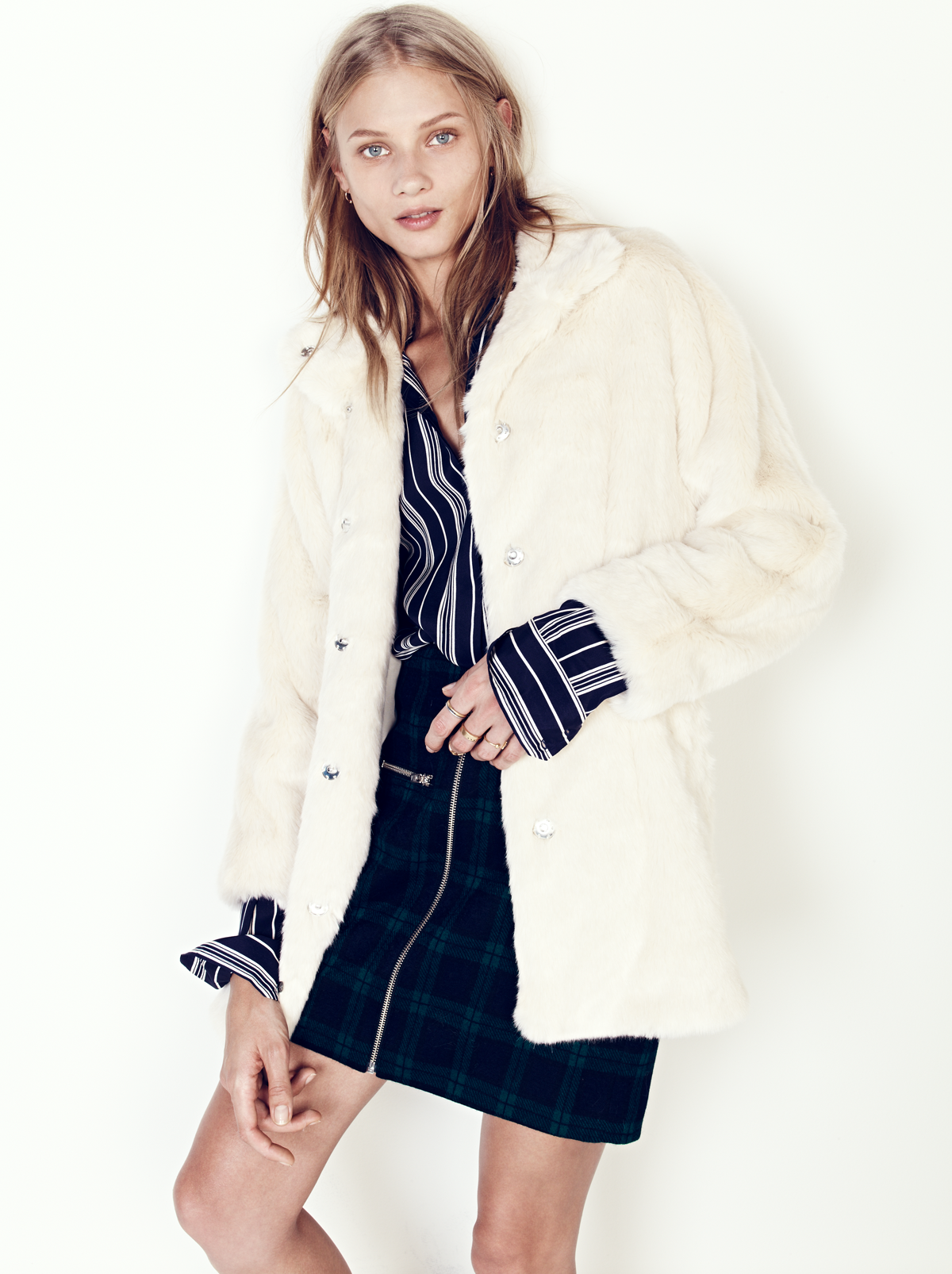 holiday outfit idea: madewell stagedoor coat worn with the zip skirt + silk tunic shirt. #giftwell