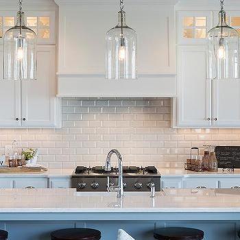 White Beveled Subway Tiles With White Shaker Cabinets Kitchen