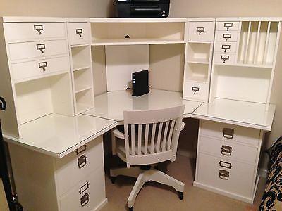 Pottery Barn Bedford Corner Desk, Hutch, Chair And Acrylic Desktop Protector