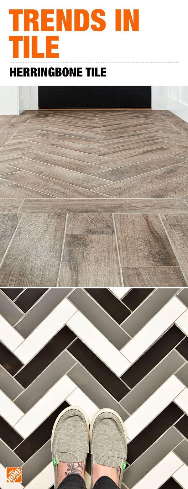 Unique Tile Looks Are Just A Click Away Give Your Floor Or Wall An Instant Upgrade With Herringbone Tile From The Home Dep House Flooring Flooring Unique Tile