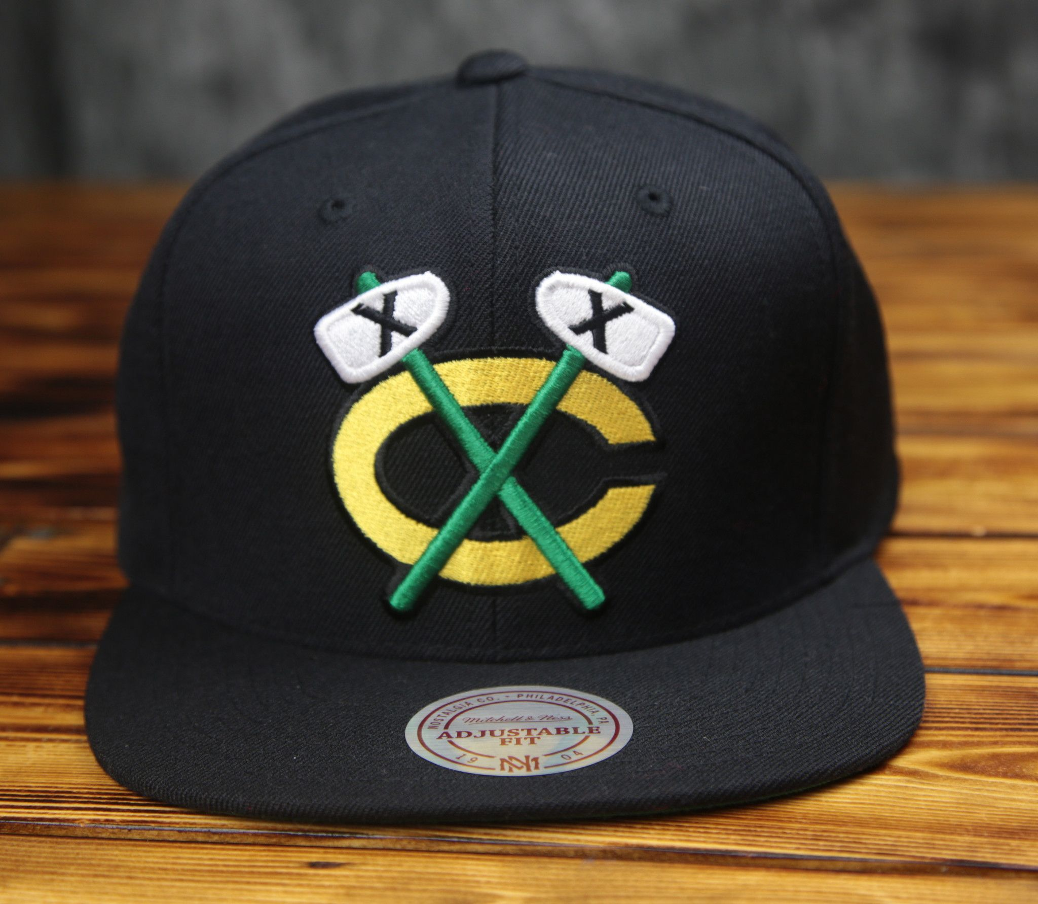 38b6764c4f4 100% wool - High crown retro shape - Solid team color - Raised front  embroidery - Green undervisor - Officially licensed x Mitchell   Ness