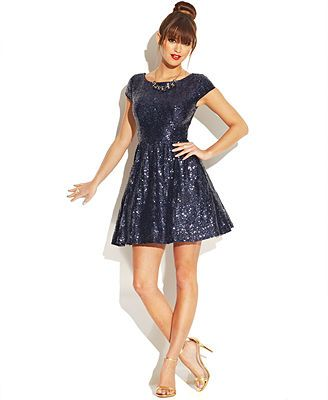 B Darlin Juniors Cap Sleeve Sequined Dress From Macys They Have