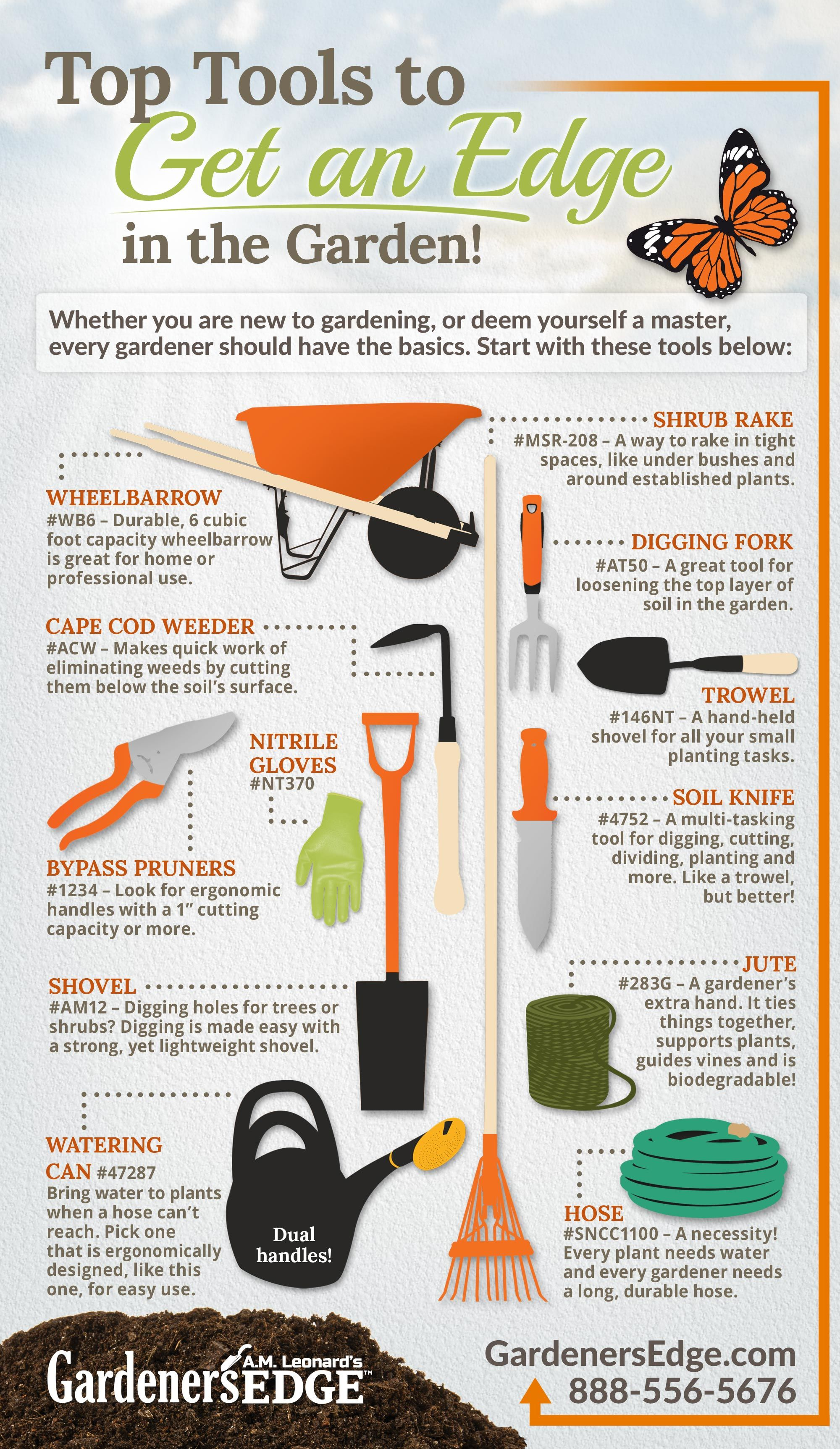 Best Gardening Tools: Top Tools to Get an Edge in the Garden this Spring! [Must-Have Garden Tools!] Durable wheelbarrow, Cape Cod Weeder, nitrile gloves, bypass pruners, garden spade, watering can, narrow shrub rake, digging fork, trowel, Soil Knife (Hori Hori Knife), jute garden string, and a reliable hose!  |  GardenersEdge.com #gardeningtools