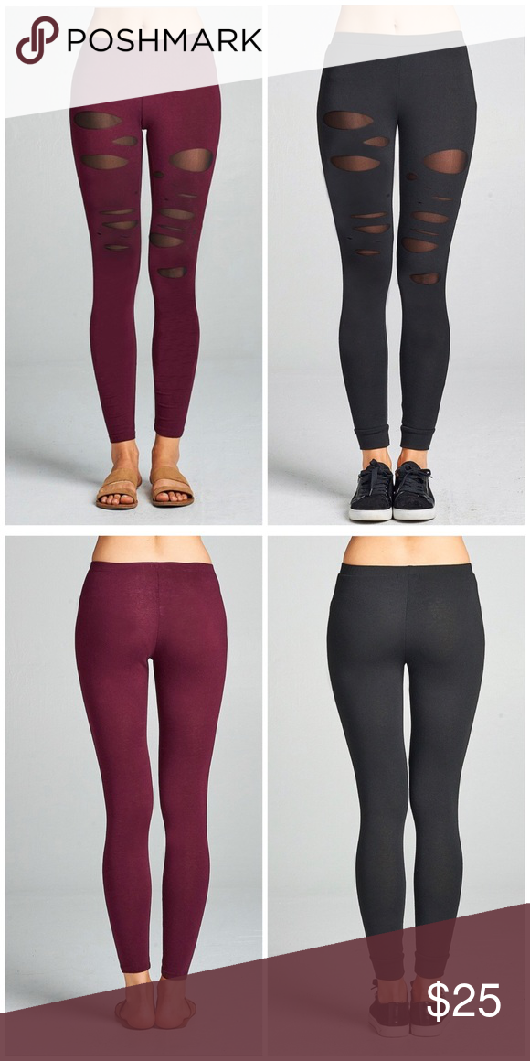 ef9564330a0d5 🆕🌸Wine Cut Out Mesh Leggings On trend cut out cotton Jersey leggings with  mesh contrast. 95% cotton and 5% spandex. Sizes S, M, L colors wine or  Black ...