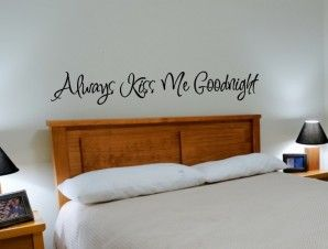 Always Kiss Me Goodnight Wall Decal Style 5 master bedroom wall decor   vgwalldecals.com