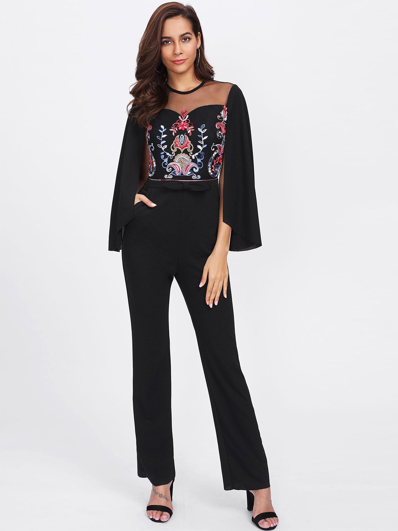 c8ff6b00f281 Cape Sleeve Mesh Insert Embroidered Tailored Jumpsuit