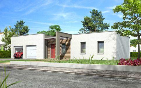 Maison toit plat Noyer - plan maison gratuit maison moderne