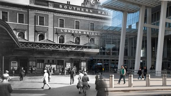 London Bridge station, then and now.