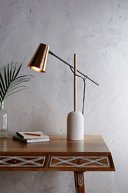 Slanted Copper Table Lamp Anthropologie Com Desk Lamp Desk Lamp Design Best Desk Lamp
