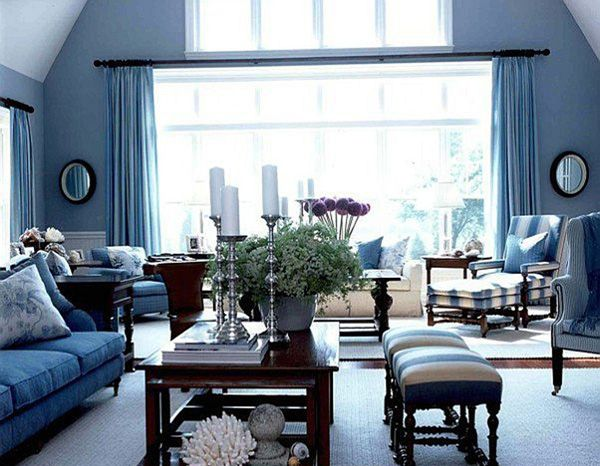 Attractive Living Room In French Style With Bay Windows In Royal Blue Part 12