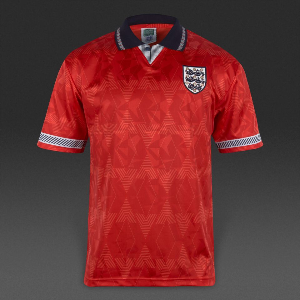 Football Shirts Score Draw Retro England Away Shirt Mens Replica Retro Football Shirts Red Navy White Pro Direct Soccer Retro Football Shirts Football Shirts Shirts