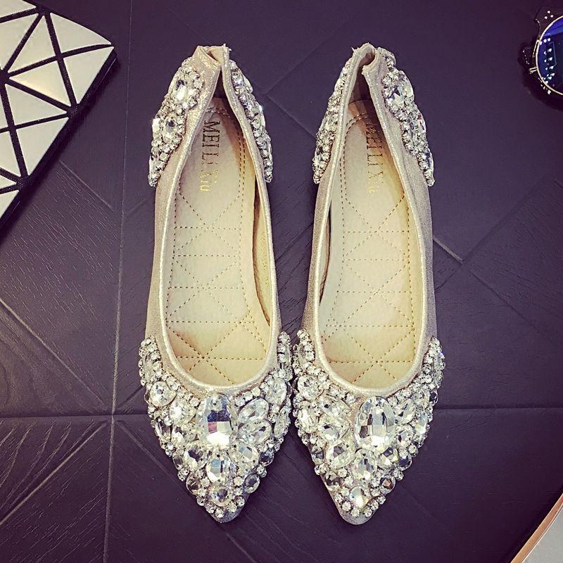 Women\'s Lady pointed toe Wedding shoes Flats Shiny Rhinestone Bridal ...