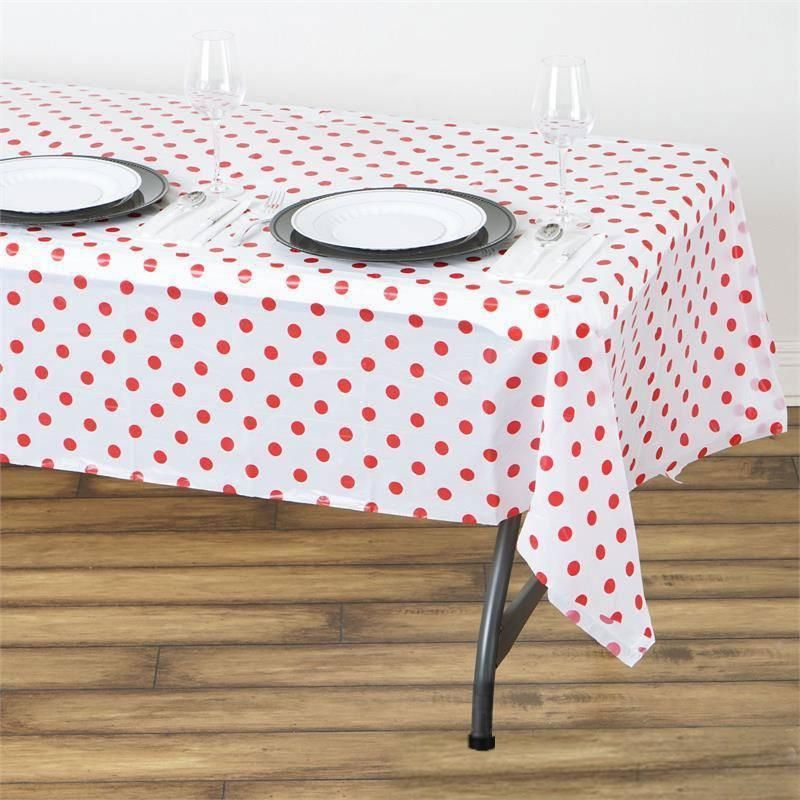 """Measures 54/"""" X 108/"""". 6 Black And White Checkered Plastic Tablecloths"""