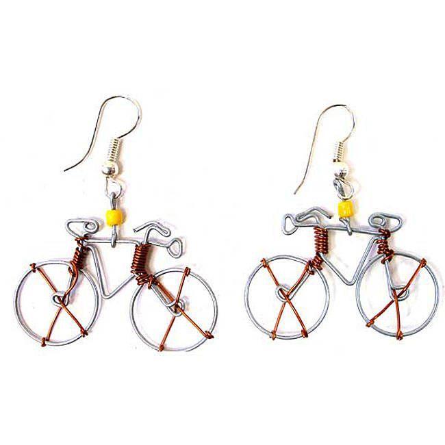 c809943bcc3eb Global Crafts Handmade Tin Wire 'Bicycle' Earrings (Kenya) (Bicycle ...