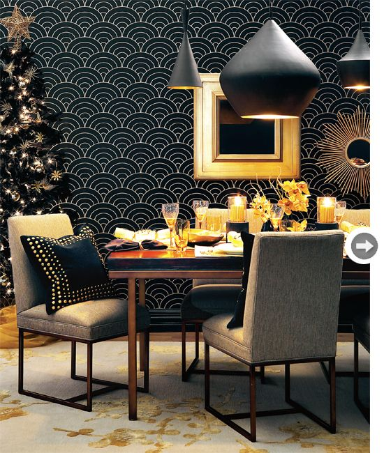 Black Gold Dining Room With Ber Glamorous Feather Christmas Tree Dripping In