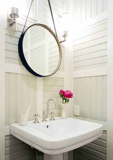 Thom Filicia Small Powder Room With Black Leather Mirror, White Pedestal  Sink, Sconces And Awesome Ideas