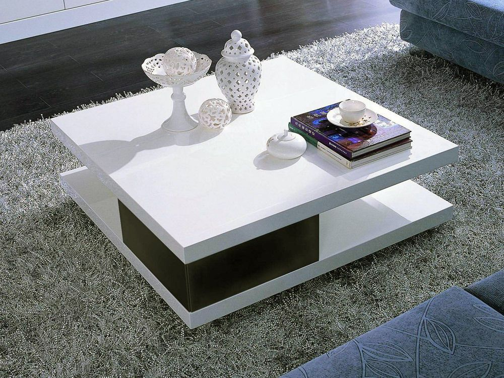 Table Basse Carree Moli En Mdf Laque Noir Et Blanc 56777 Table Basse Carree Table Basse Deco Meuble Tv