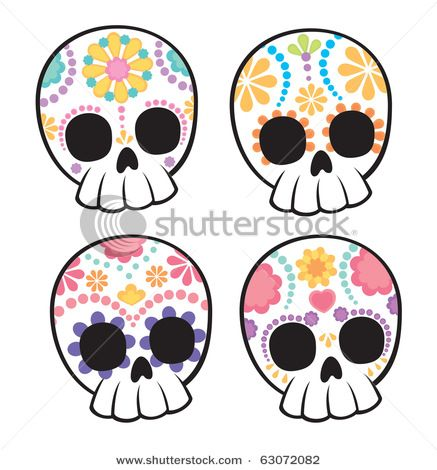 Cute,easy to draw sugar skulls