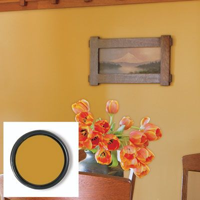 Saffron Thread Interior Paint From Sherwin Williams On A Dining Room Wall.