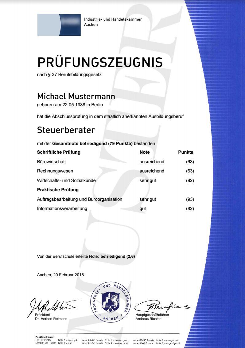 IHK Prüfungszeugnisse | Berufszertifikate & Diplome, Prüfungszeugnis ...