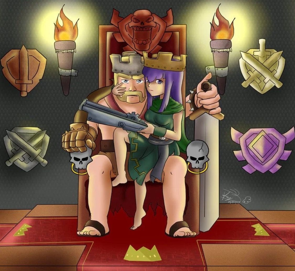 Clash Of Clans Barbarian King & Archer Queen Dengan Gambar