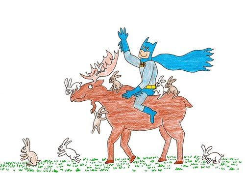 Happy Batman riding a moose with bunnies