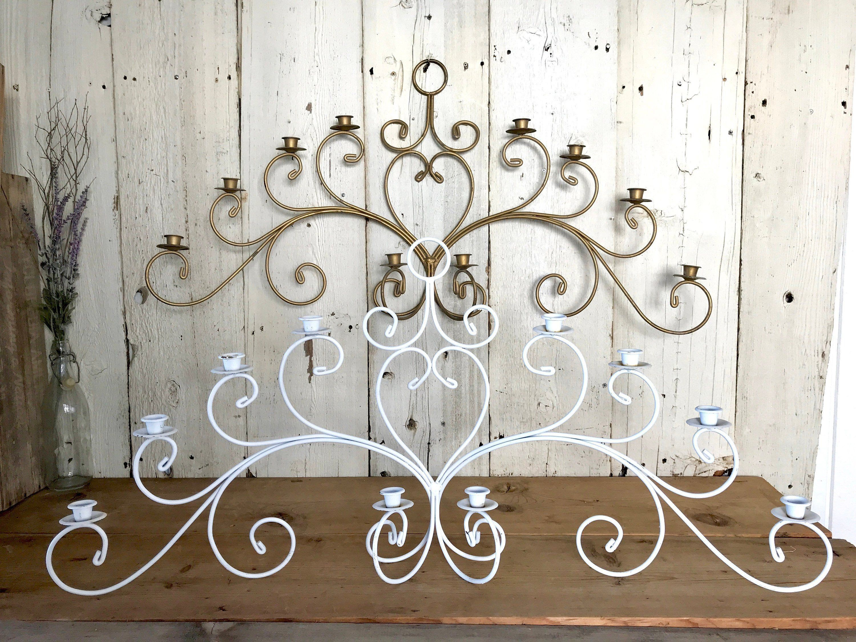 Rustic Wrought Iron Wall Decor Best Of Set Of 2 Wrought Iron Wall Candelabras Matching 10 Arm Wall Dekorasi Dinding Dekor Cermin Dinding