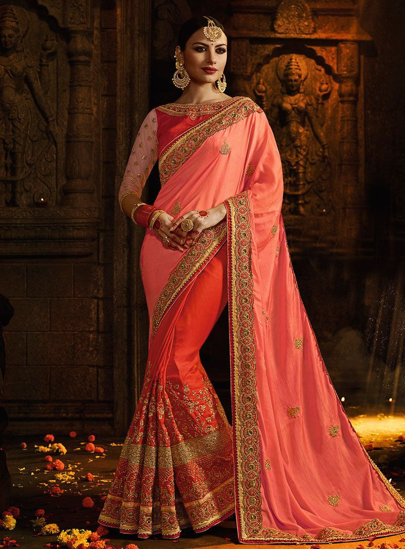 ec12cb1a4d Buy Orange and pink designer party wear saree in UK, USA and Canada ...