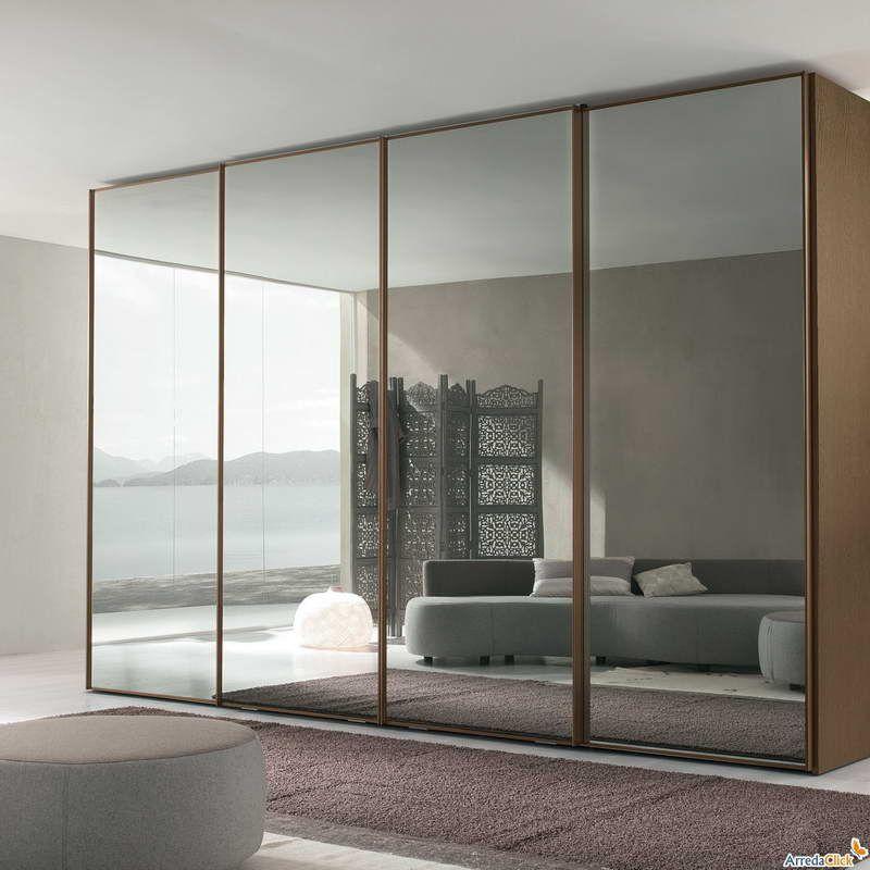 Cheap Bedroom Design Ideas Sliding Door Wardrobes: Fume Mirror Wardrobe Bedroom With Sliding Doors Modern