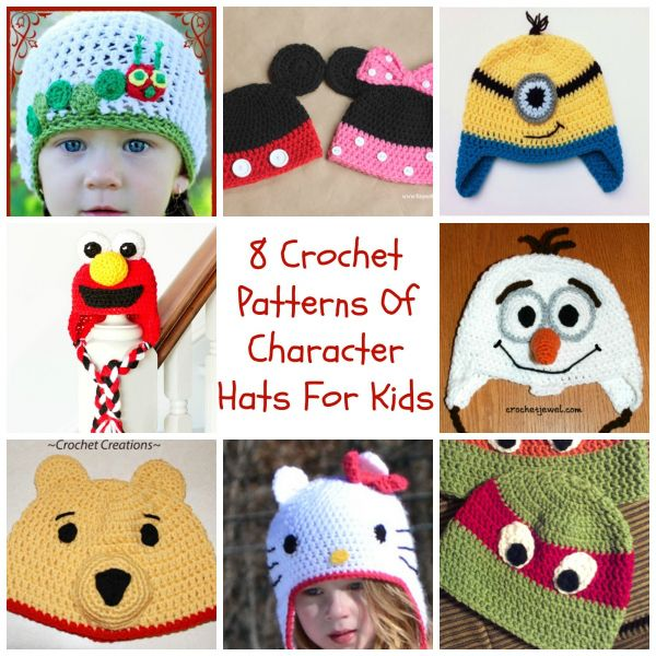 8 crochet patterns of character hats for kids popular cartoons 8 crochet patterns of character hats for kids dt1010fo