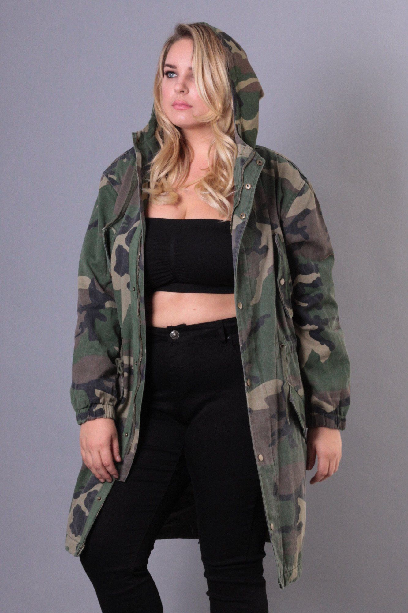 b5459738781 Jackets And Outerwear - Plus Size Hooded Camo Utility Coat - Olive ...