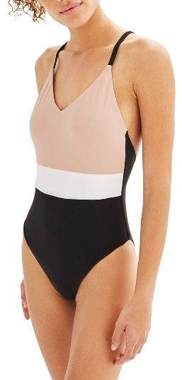 9dfcd3fb04 Women s Topshop Colorblock One-Piece Swimsuit