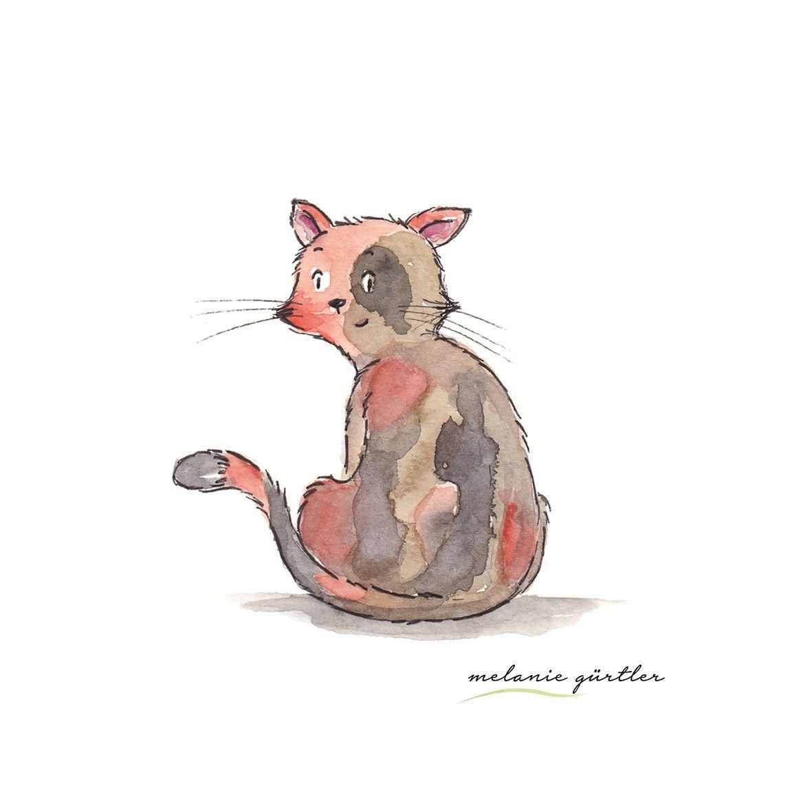 Bunte Katze Aquarell Kinderbuch Melanie Gurtler Illustration