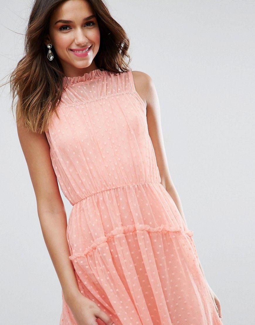 Peach skater mini dress (affiliate) | Wedding Guest Dresses | Pinterest