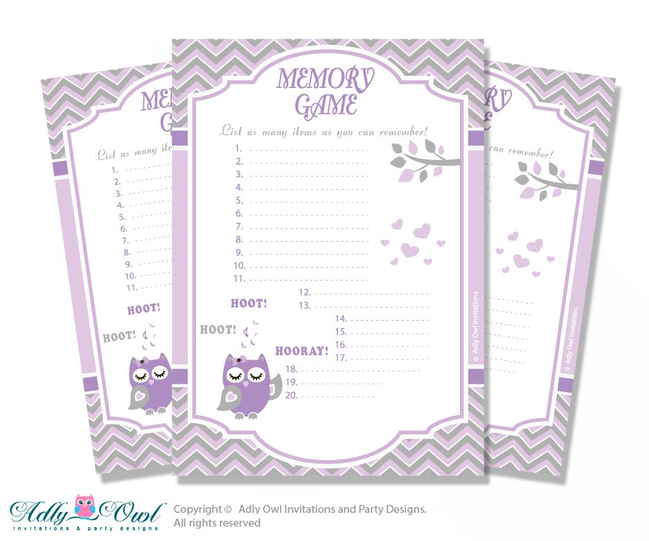 ADLY Invitations And Digital Party Designs   Purple Owl Memory Game Card  For Baby Shower,