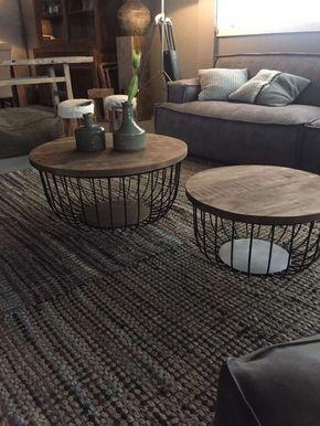 Couchtisch Evelyn 2er Set aus Holz Mango und Metall | Wohnzimmer ...