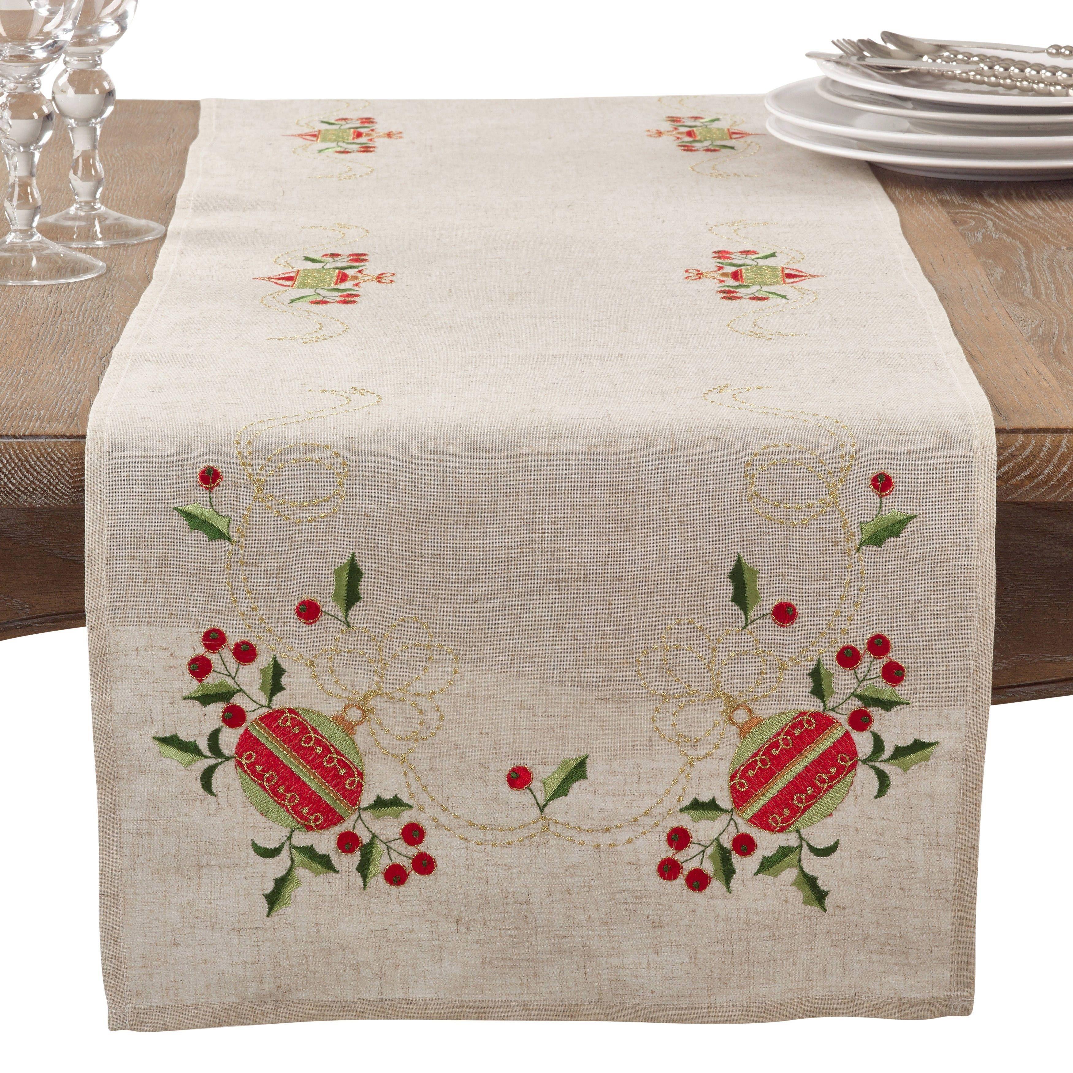 Saro Embroidered Ornament Holiday Linen Blend Table Runner (Runner/90 Inch  Runner), Tan (Polyester)