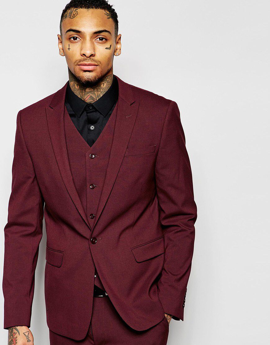 Asos Skinny Suit Jacket In Burgundy At Asos Com Skinny Suits Mens Outfits Prom Suits