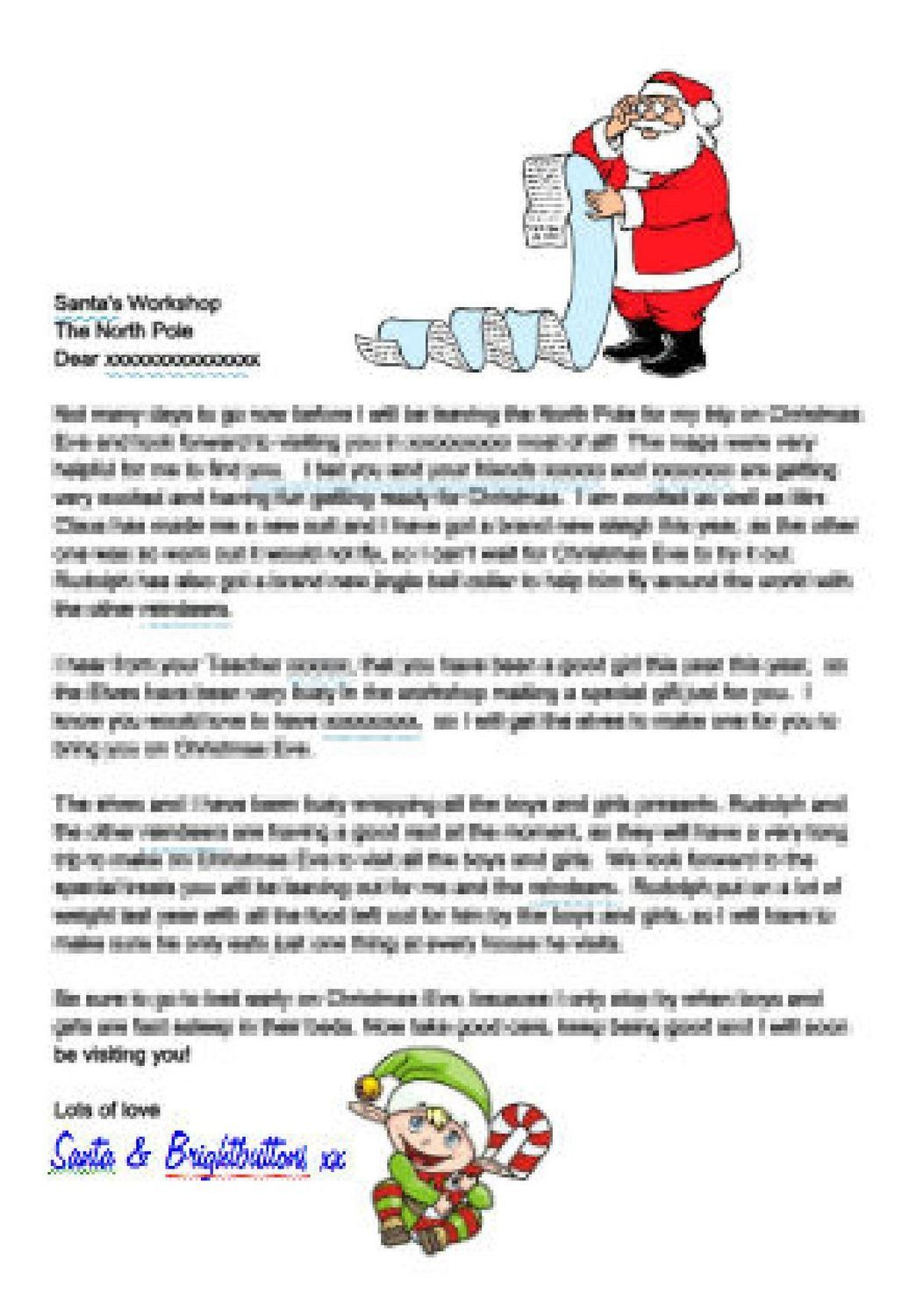 Editable Personalised Letter From Santa And Elf Studio And
