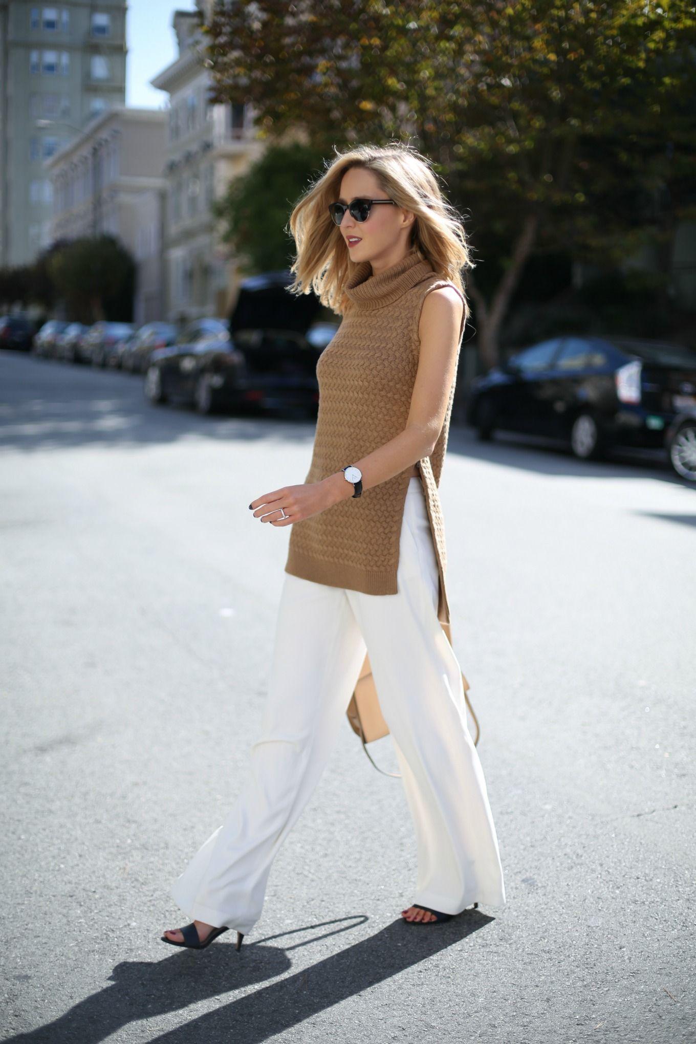 f camel cableknit turtleneck sleeveless tunic sweater chunky knit ...