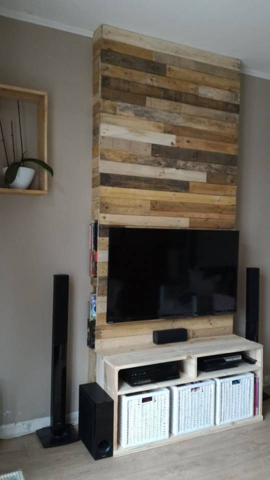 Wall From Pallet Wood Mur En Bois De Palettes Pallet Wood Tv