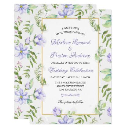 #Spring Dreamy Purple Garden Watercolor Wedding Card - #flower gifts floral flowers diy